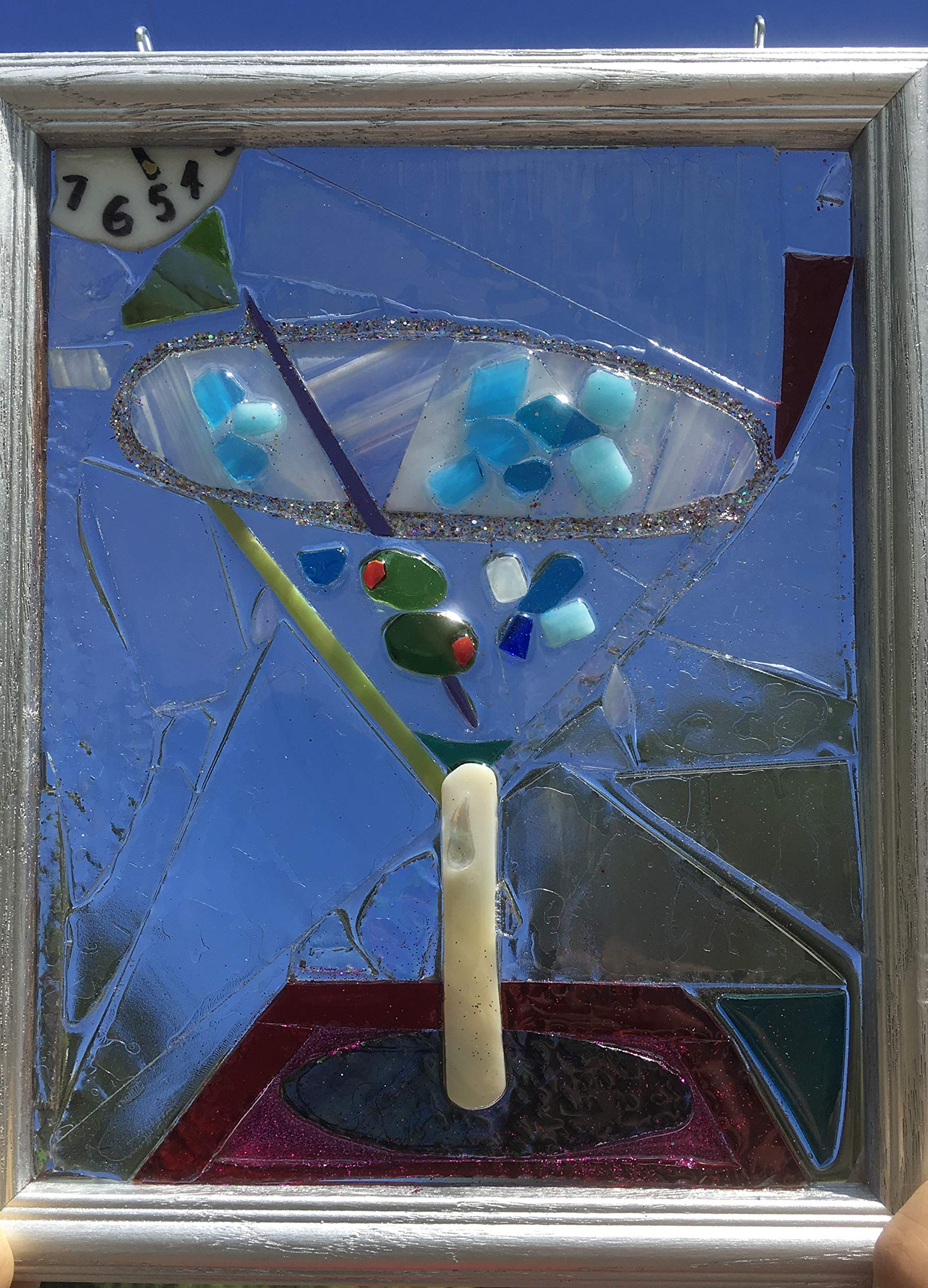 Martini Stained Glass Window Art Sun Catcher