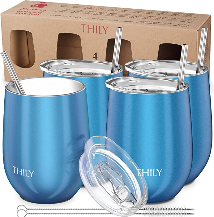 Stainless Steel Stemless Wine Glasses - THILY 4 Pack Triple Vacuum Insulated Cute Wine Tumbler Set Travel Cup with Lid, Reusable Straw, 12 oz, Keep Hot or Cold for Beer, Coffee, Sparkle Blue