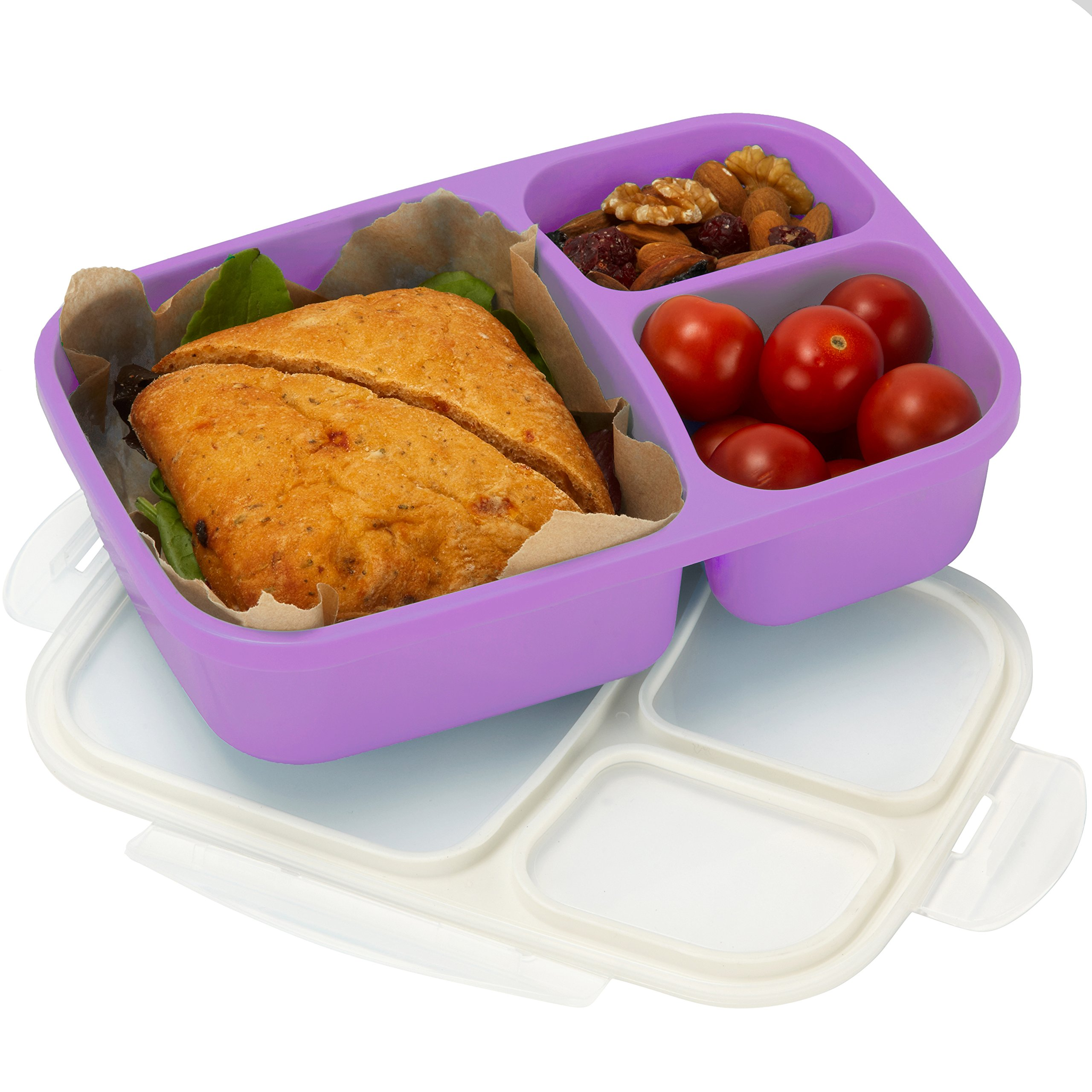 Leakproof, 3 Compartment, Bento Lunch Box, Airtight Food Storage Container - Purple
