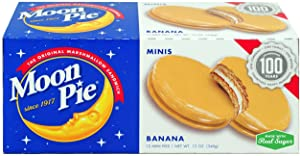 MoonPie Mini Banana Marshmallow Sandwich - 1oz, 12Count Box (Pack of 12 Boxes, 144Count Total) | Small Bite Size Banana Covered Graham Cracker & Marshmallow Pie