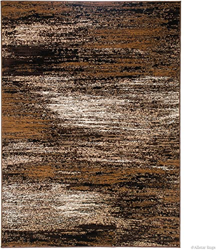 Allstar 5×7 Chocolate Modern and Contemporary Rectangular Accent Rug with Mocha and Ivory Abstract Brush Streak Design 4 11 X 6 11