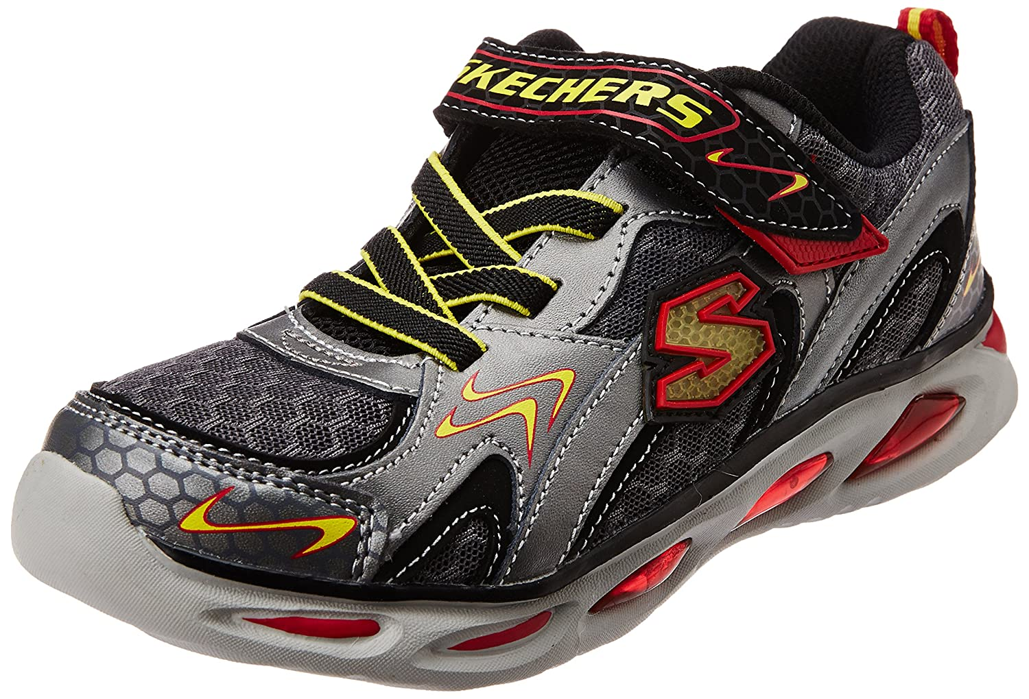 Skechers Kids Ipox Rayz Light-Up Sneaker,Gunmetal/Red,13 M US Little Kid