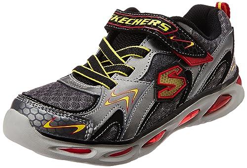 270ed26878b8 Skechers Boy s Ipox - Rayz Gunmetal and Red Mesh Sports Shoes - 1 Kids UK