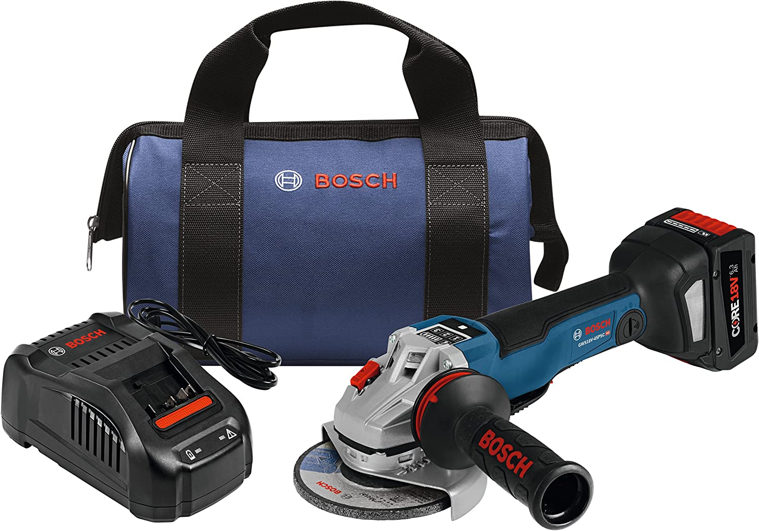 Bosch GWS18V-45PSCB14 18V EC Brushless Connected 4-1/2 In. Angle Grinder Kit with No Lock-On Paddle Switch and CORE18V Battery