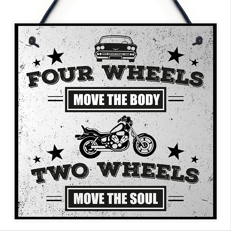 RED OCEAN Move The Soul Motorbike Man Cave Hanging Plaque Garage Vintage Gift Motorcycle Biker Sign
