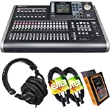 Tascam DP-24SD 24-Track Digital Portastudio Multi-Track Audio Recorder with Pro Headphone and Pair of EMB XLR Cables and Grav