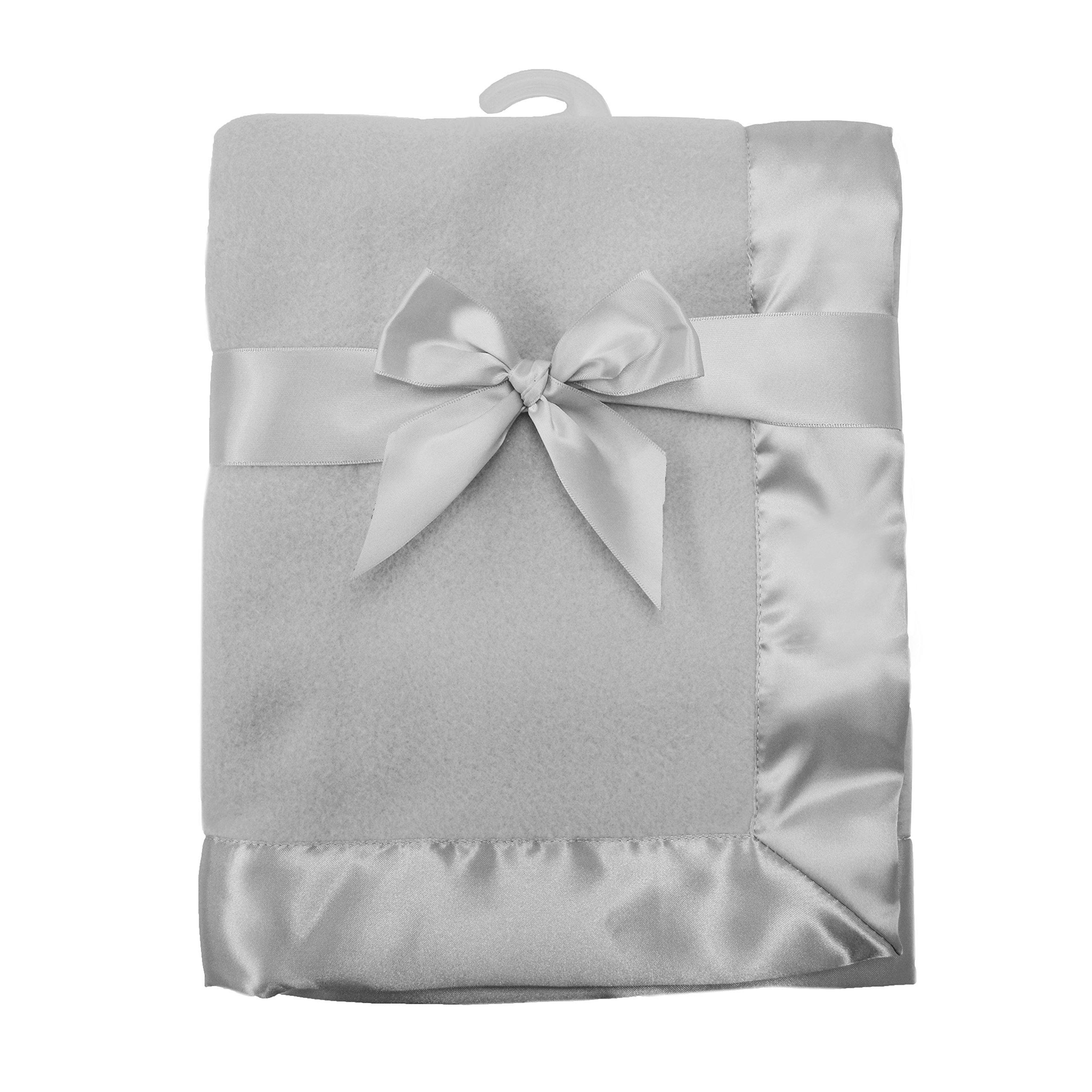 "American Baby Company Fleece Blanket 30"" X 40"" with 2"" Satin Trim, Grey"