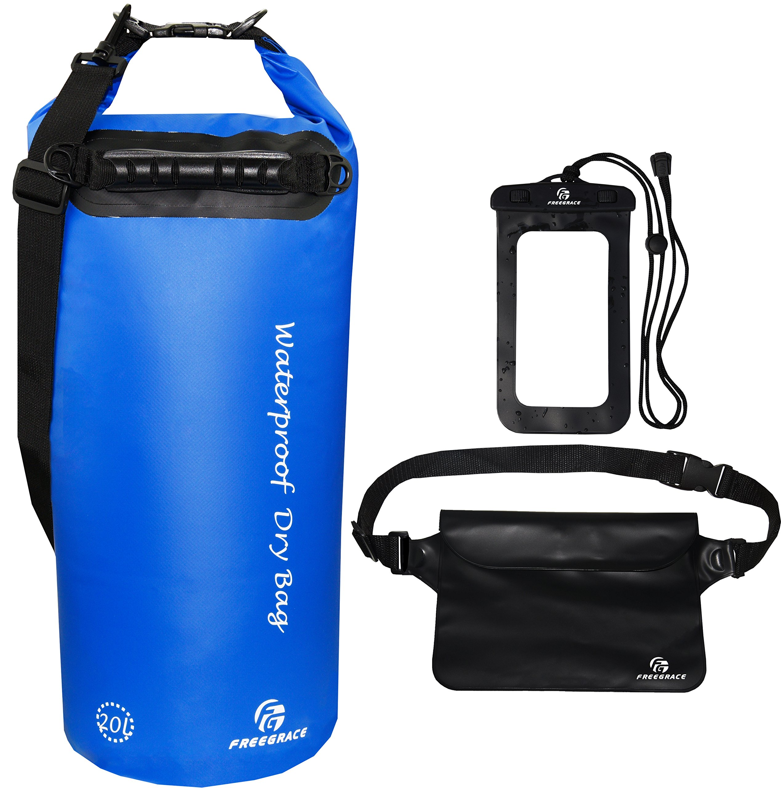 Freegrace Waterproof Dry Bags Set of 3 Dry Bag with 2 Zip Lock Seals & Detachable Shoulder Strap, Waist Pouch & Phone Case - Can Be Submerged Into Water (Navy Blue, 20L) by Freegrace