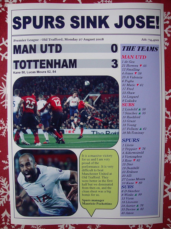 Sports Prints UK Manchester United 0 Tottenham Hotspur 3-2018 Premier League - Souvenir Print