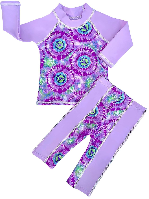 Toddler Girl Rash Guard Long Sleeve Swimsuit Set 2 Piece UPF 50 grUVywear Baby
