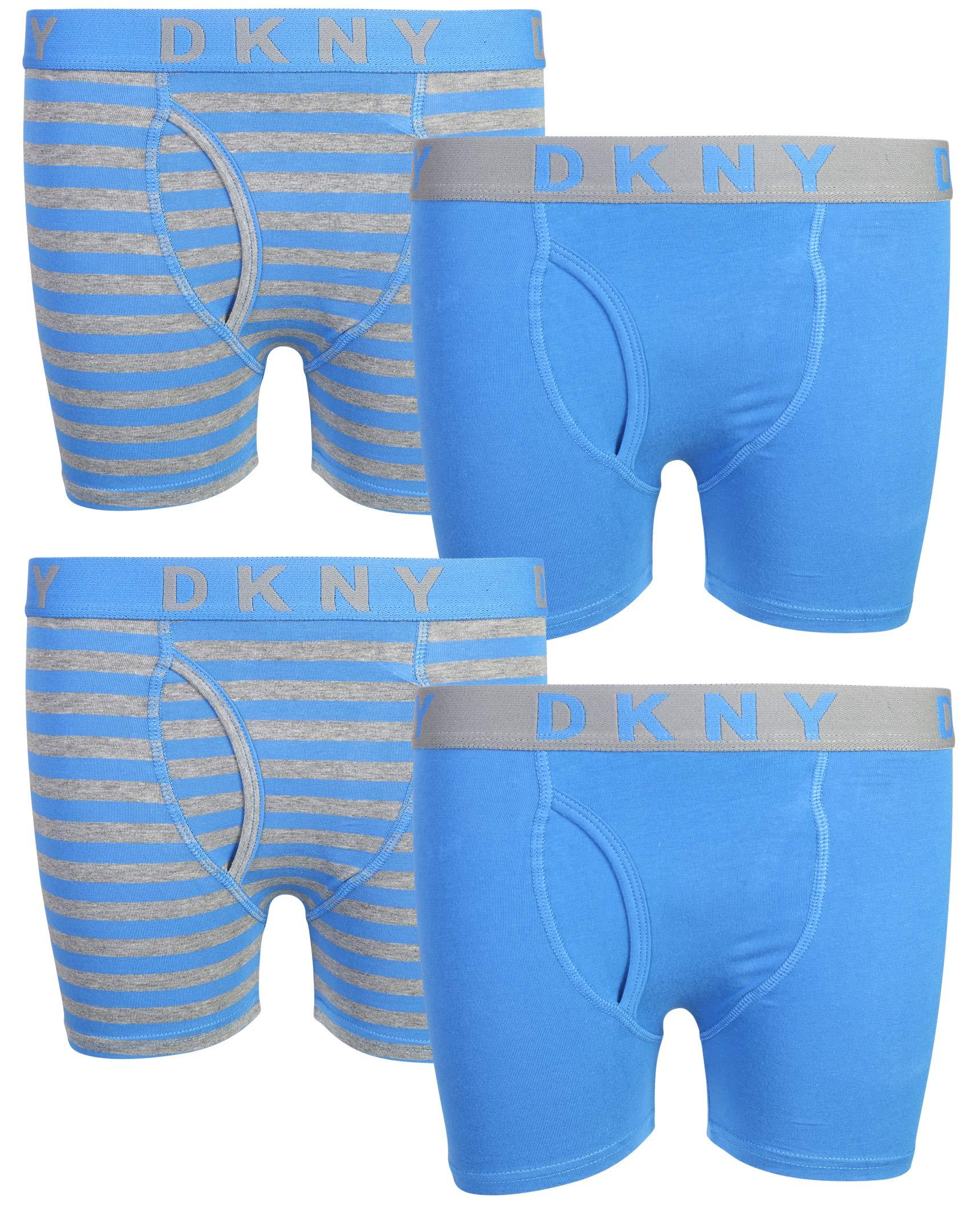 DKNY Boy's (4 Pack) Boxer Brief Underwear, (Medium/10-12, Blue/Stripes)'