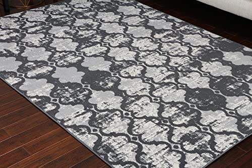 Generations Collection 100 Olefin Contemporary Grey Silver White Modern Anitique Trellis Area Olefin Rug Rugs 8057Grey 5 2 x 7 3