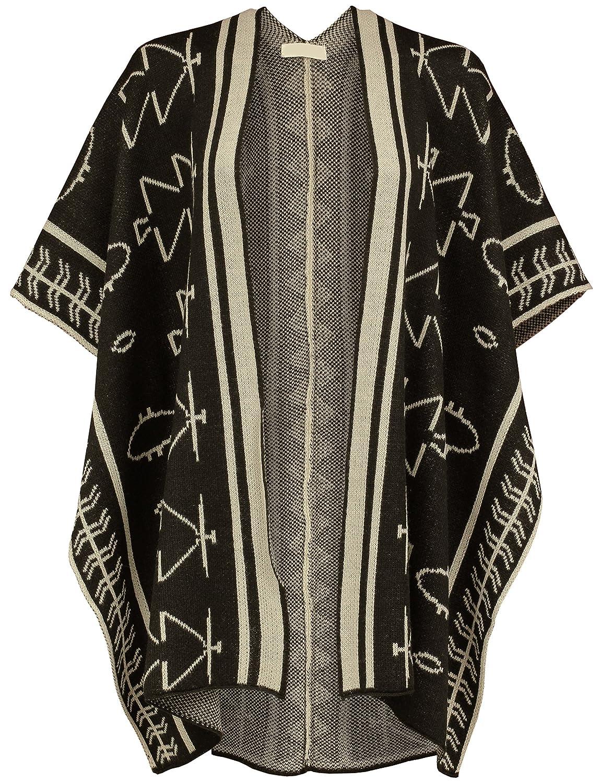 BEKTOME Womens Trendy Aztec Pattern Inspired Pancho Open Cardigan Sweater