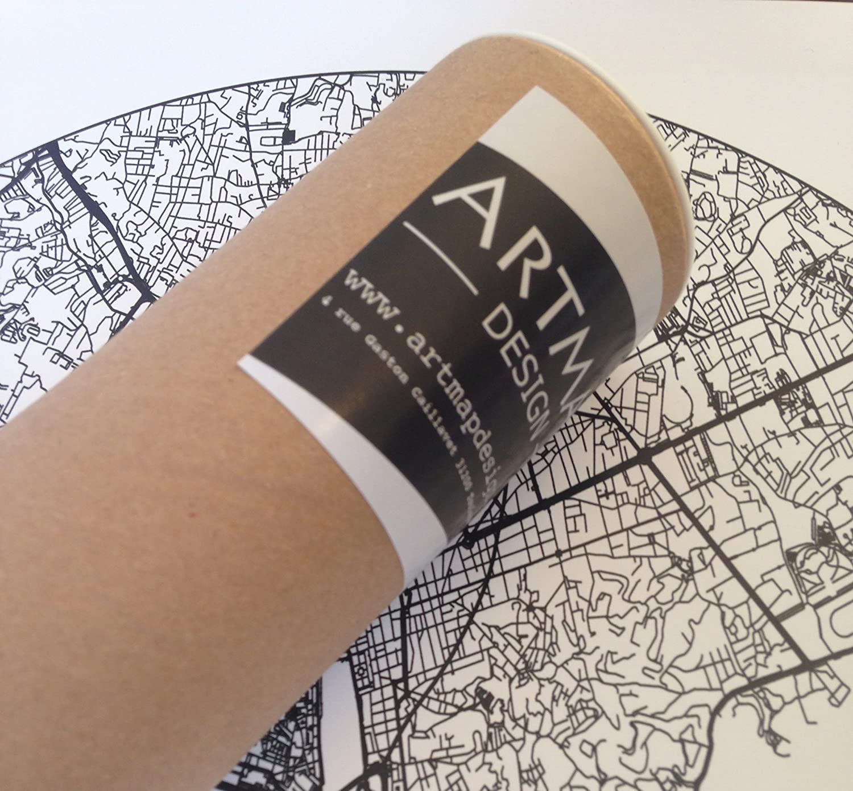 Cr/éation originale handmade Poster de Roanne Plan de ville Impression dArt City Map Affiche Roanne Minimalist Map