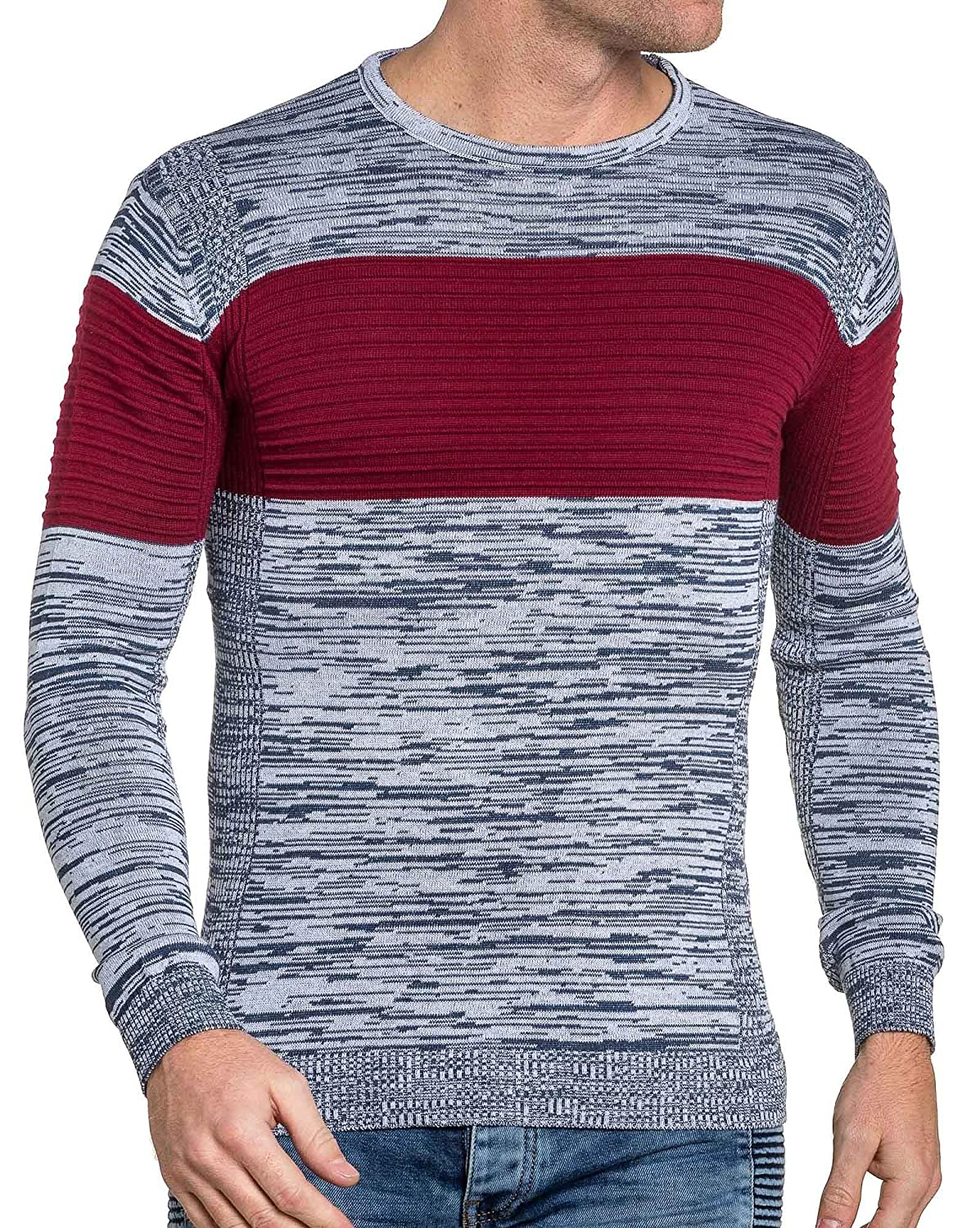 BLZ jeans - Pullover end man navy and red