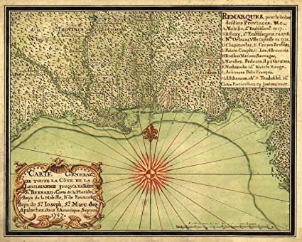 Gulf Coast Map Of Florida.Amazon Com Magnet 1747 Map Of The Gulf Coast Louisiana To Florida