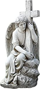 "Joseph's Studio by Roman - Collection, 13"" H Seated Male Angel W/Cross, Made from Resin, High Level of Craftsmanship and Attention to Detail, Durable and Long Lasting"