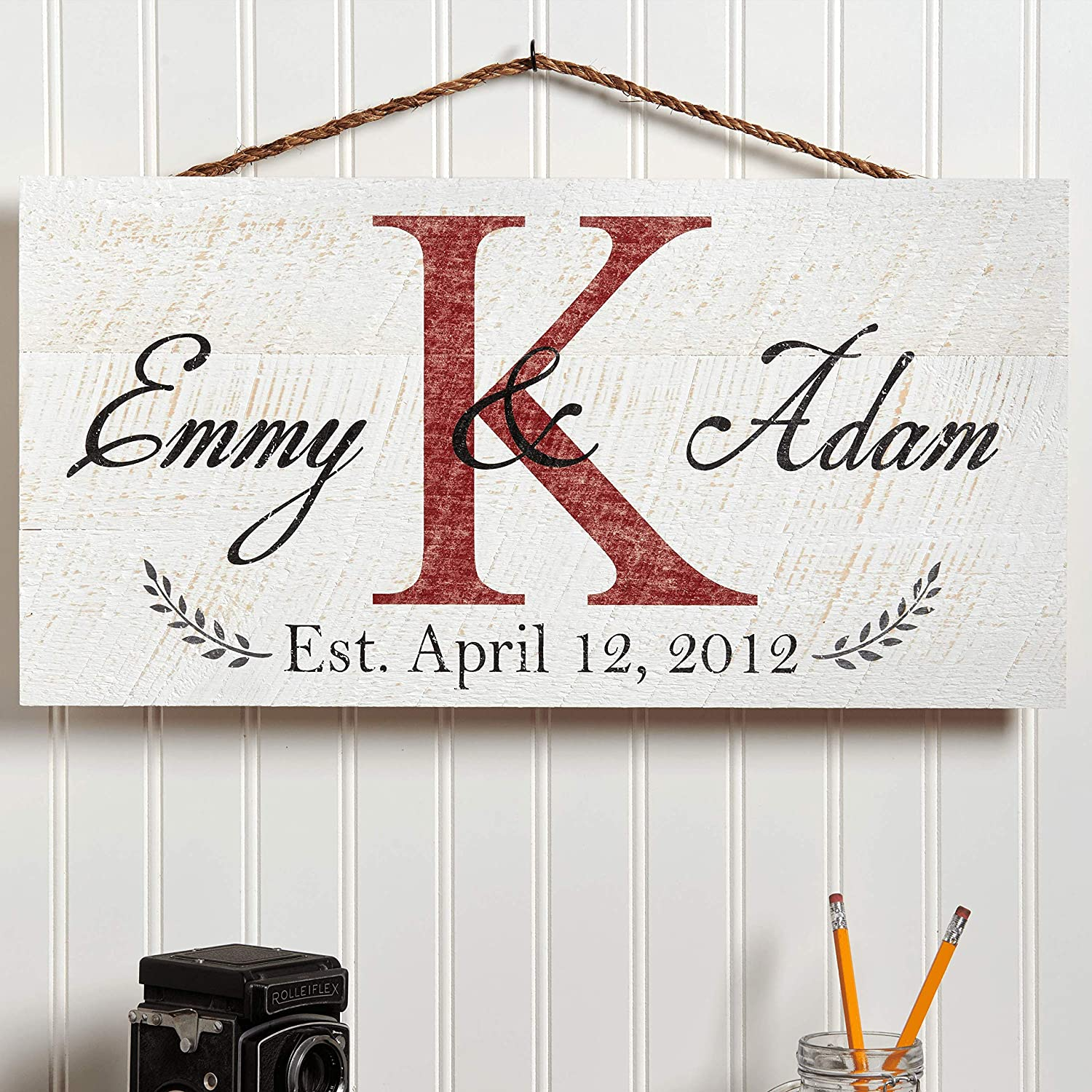 """Artblox Personalized Rustic Family Wood Sign Home Decor, Custom Couple Names, Family Initials & Established Date, Real Vintage Barn Wood Farmhouse Style Wooden Wall Art Country Pallet (21"""" x 10.5"""")"""