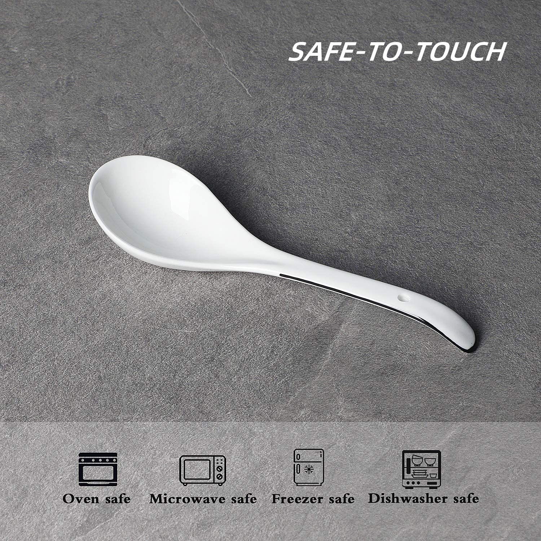 6 St/ück Suppenl/öffel Leetoyi gro/ße Keramik-L/öffel Porzellan Kaffeel/öffel Reisl/öffel asiatische Suppenl/öffel 23,9 cm Wei/ß