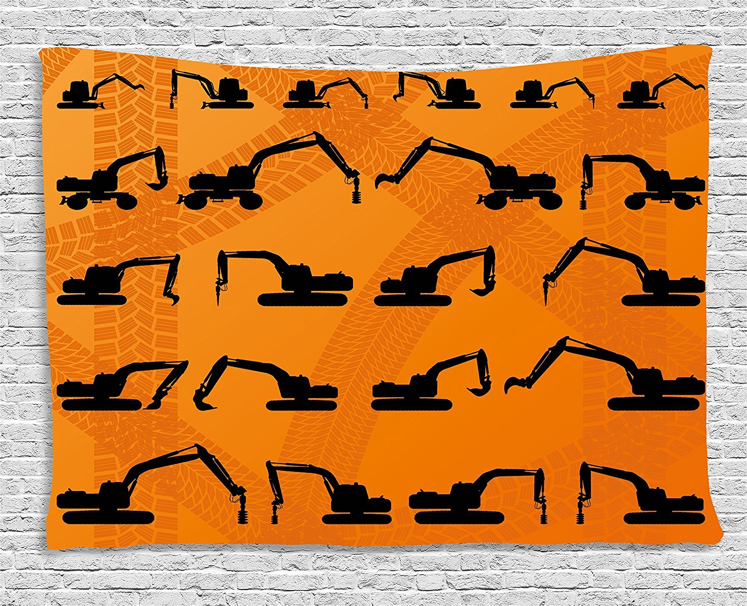 Construction Tapestry, Excavator Black Silhouettes Tire Traces Track Machinery Industry Technology, Wall Hanging for Bedroom Living Room Dorm, 80 W X 60 L Inches, Orange Black