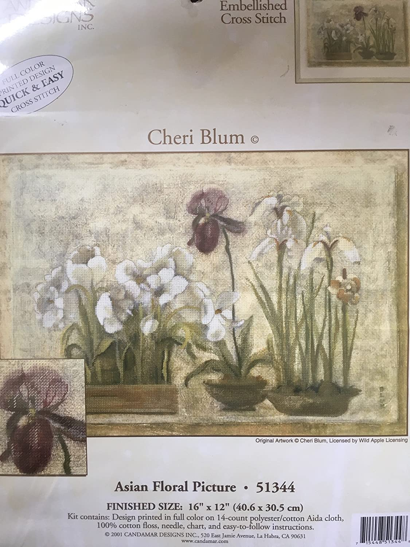 Asian Floral Picture Cross Stitch kit Artwork of Cheri Blum