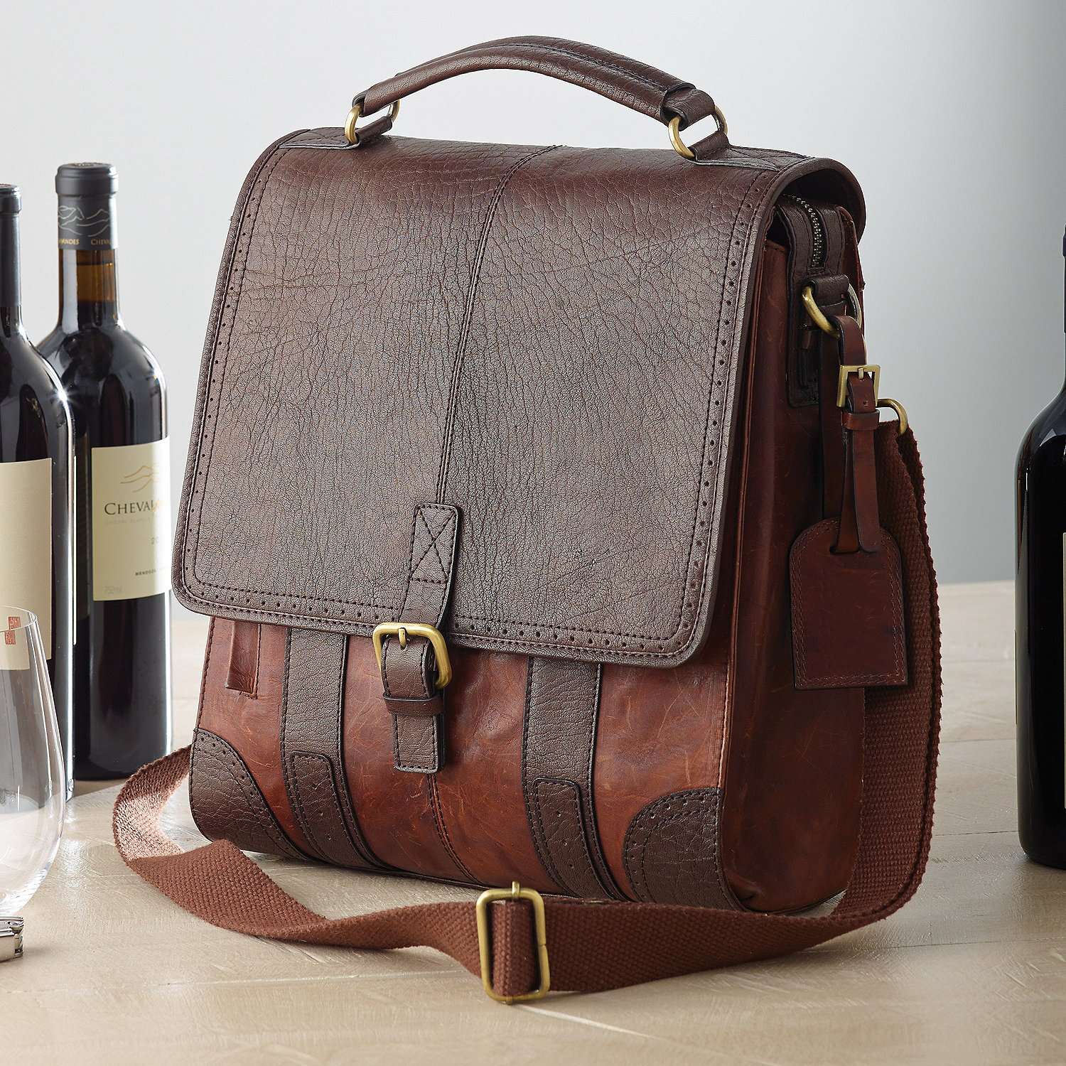 Leather Wine Carrier >> Amazon Com 3 Bottle Leather Byo Wine Bag Bar Tools Drinkware
