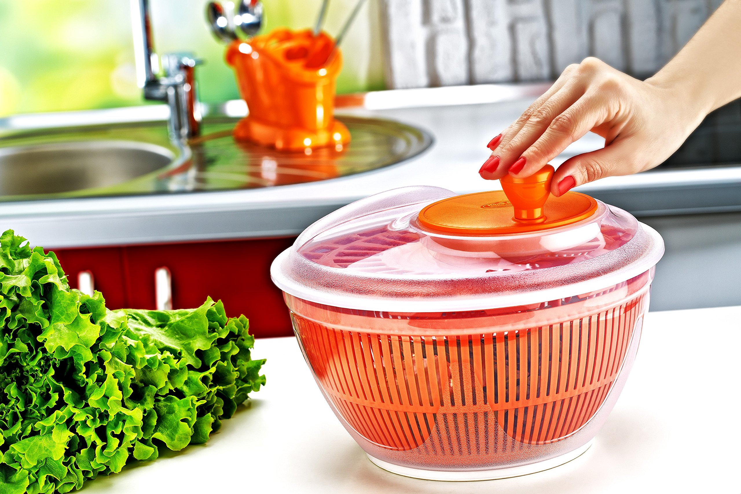 Large Salad Spinner Lettuce Dryer Easy Spin Salad Spinner Large Vegetable Washer Manual Salad spinner Vegetable Dryer (Colors May Vary)