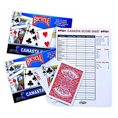 Canasta Cards with Point Values and Score Sheet Pad (2 Games, 1 Score Sheet Pad): Sports & Outdoors