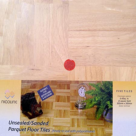 Parquet Oak Unsealed Hardwood Floor Tiles Amazon Kitchen Home