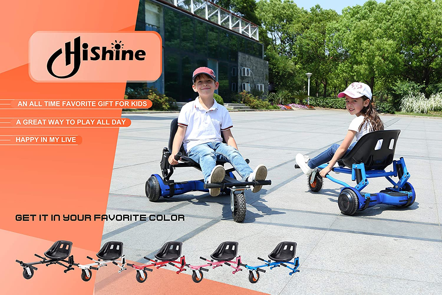 Hoverboard Go Cart Accessories hishine gk Upguade Hoverboard Seat Attachment Go Kart Heavy Duty Flame Fun for Kids Fits 6.5//8//10