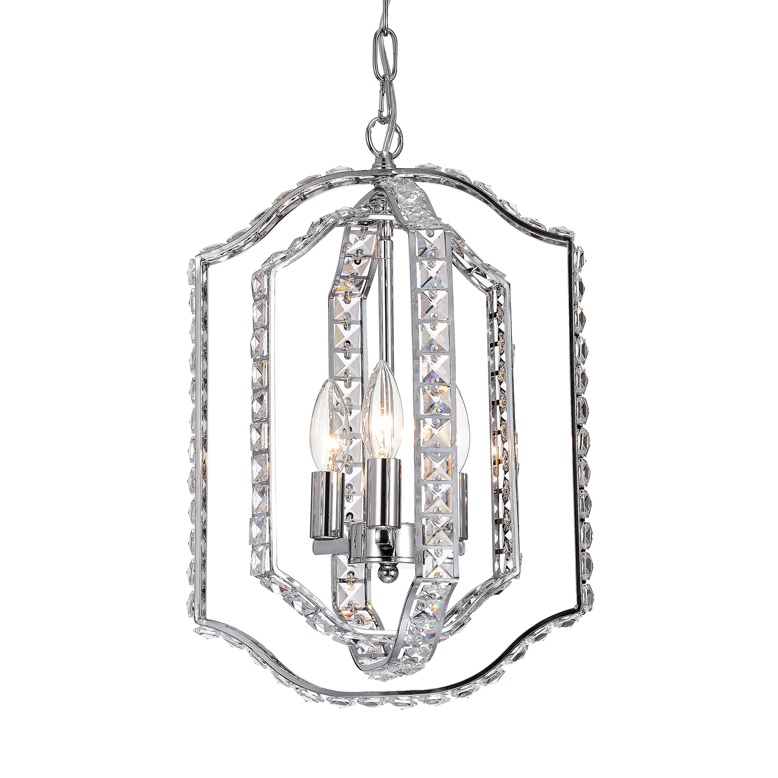 LaLuLa Crystal Chandeliers Modern Metal Chandelier Lighting 3 Lights Chrome Frame Pendant Light 17166
