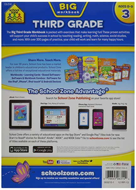 Amazon.com: School Zone Big Workbook, Third Grade: Arts, Crafts ...