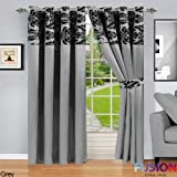 "RING TOP FULLY LINED PAIR EYELET READY CURTAINS LUXURY DAMASK CURTAIN RING TOP (90"" x 90"" (228cm x 228cm), Grey)"