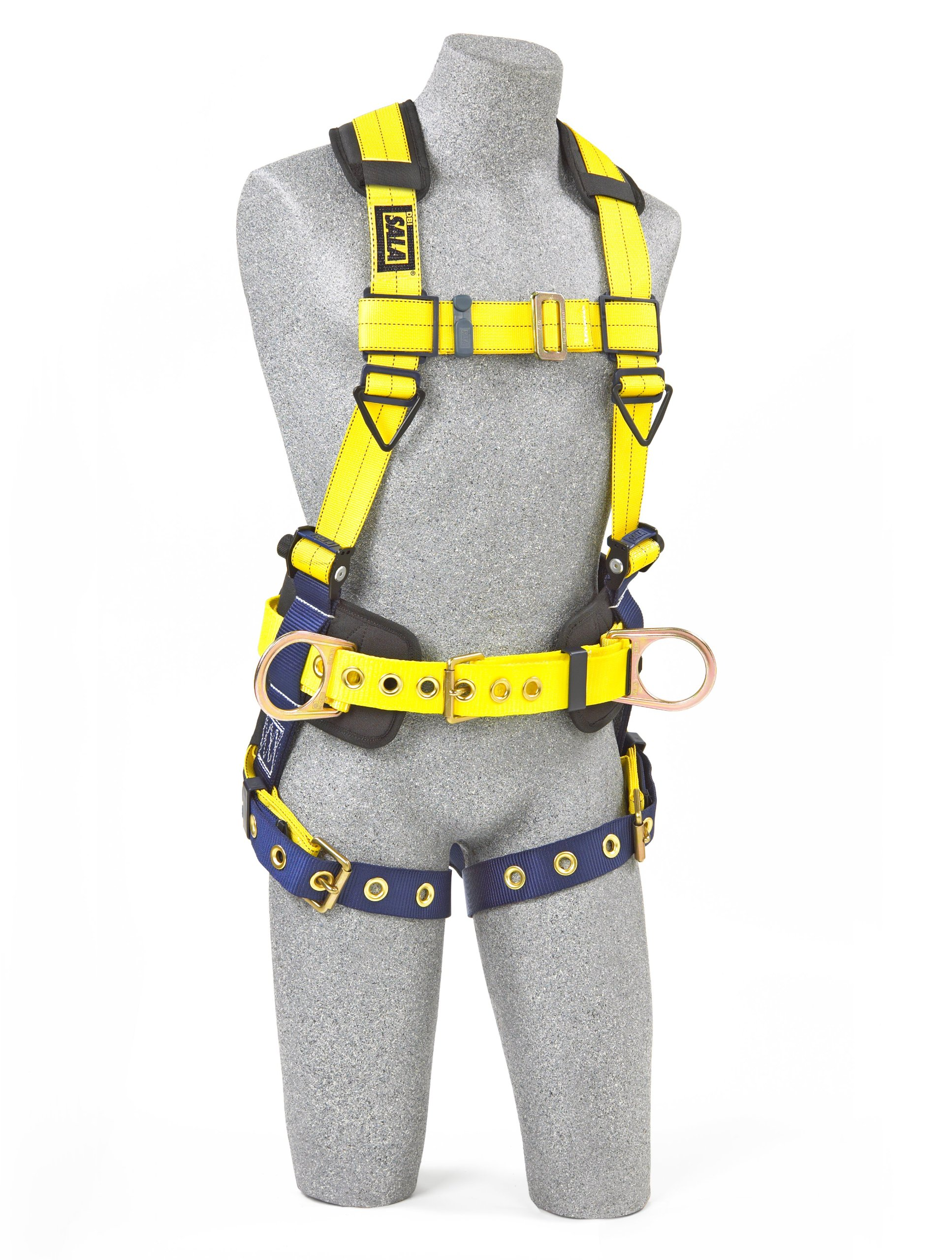 3M DBI-SALA Delta 1101654 Construction Harness, Back/Side D-Rings, Belt w/Sewn-In Back & Shoulder Pads, Tongue Buckle Leg Straps, Medium, Navy/Yellow