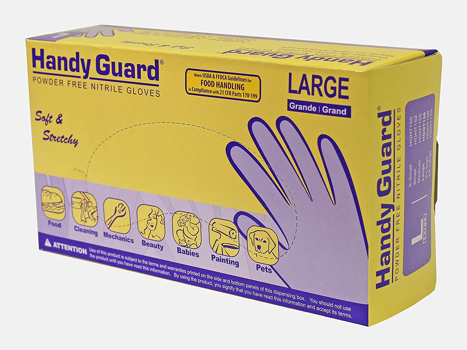 Adenna Handy Guard 3.5 mil Nitrile Powder Free Gloves (Violet, Large) Box of 100