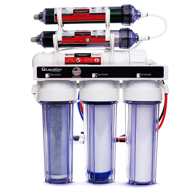 LiquaGen Portable - 6 Stage Dual Use (Drinking & 0 PPM Aquarium Reef/Deionization) Reverse Osmosis Water System (RO/DI) w/pH Alkaline Mineral Restoration Filter