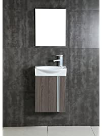 Fine Fixtures Compacto Small Bathroom Vanity Set With Sink  Wall Hung  Cabinet  Sink