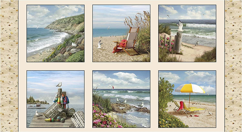 Coastal Dreams 24in Coastal Panel Sand Quilt Fabric