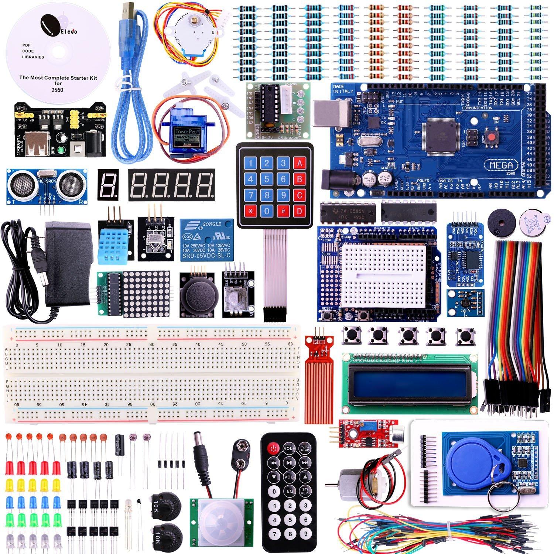 Elego Mega 2560 Project The Most Complete Ultimate Starter Kit w/ TUTORIAL, MEGA 2560 controller board, LCD1602, Servo, Stepper Motor for Arduino Mega2560 UNO Nano