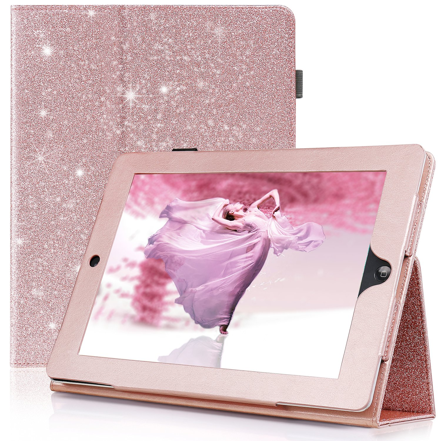 iPad 4 Case, iPad 3 Case, iPad 2 Case, Karidge PU Leather Business Smart Slim Cover with Auto Wake/Sleep Multi-Angle Viewing Stand Hand Strap Protective Case for Apple iPad 2/3/4 Case, Rose Gold