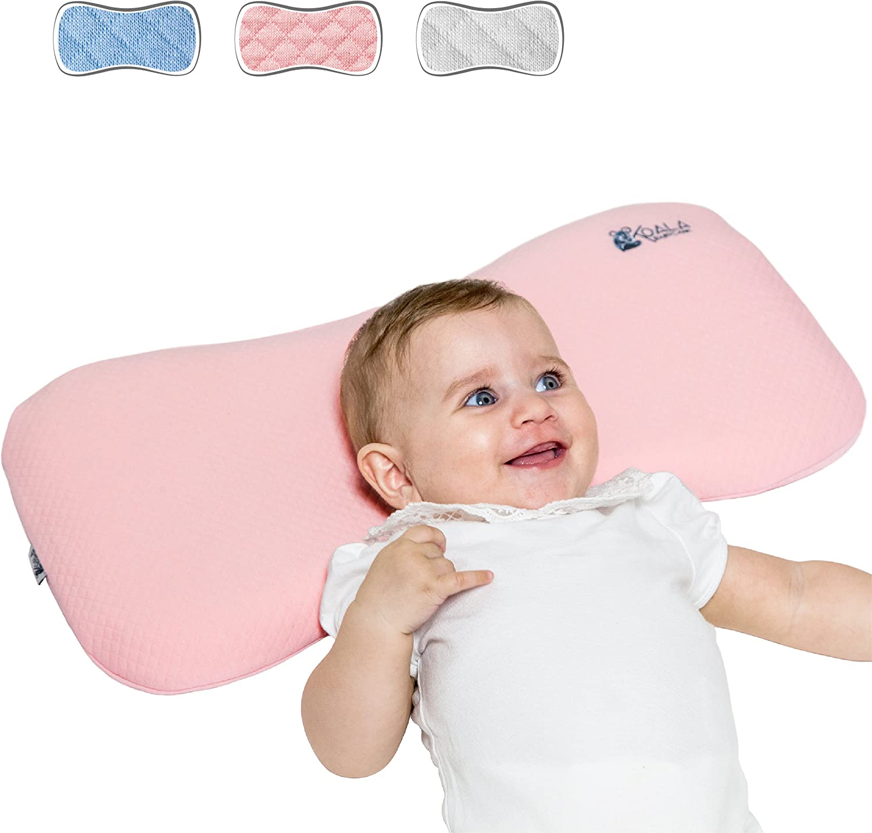 Cojín Ortopédico para bebe 0-36 Meses Plagiocefalia desenfundable por la cama (con dos cobertores) para prevenir y curar la Cabeza plana in Memory Foam Antiasfixia - KoalaBabycare® - Rosa - Maxi