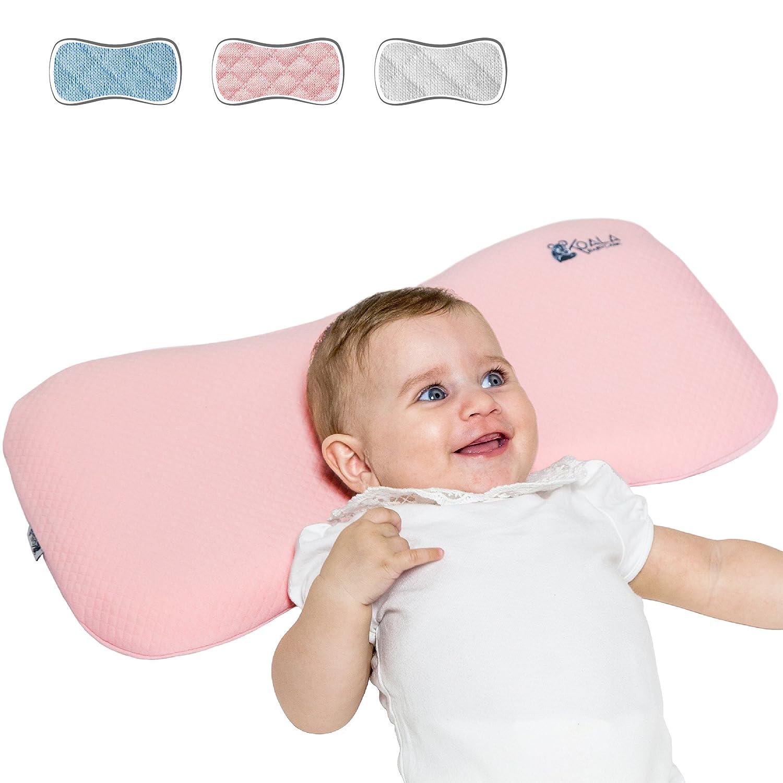 Almohada para Bebe para plagiocefalia desenfundable (con dos forros) para prevenir/curar la Cabeza Plana in Memory Foam Antiasfixia - KoalaBabycare® - Perfect Head - Azul Koala Babycare