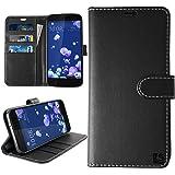 HTC U11 Hülle, KingShark [Ständer Funktion] HTC U11 Schutzhülle, Premium PU Leder Flip Tasche Case mit Integrierten Kartensteckplätzen und Ständer für HTC U11 - Leder Serie schwarz
