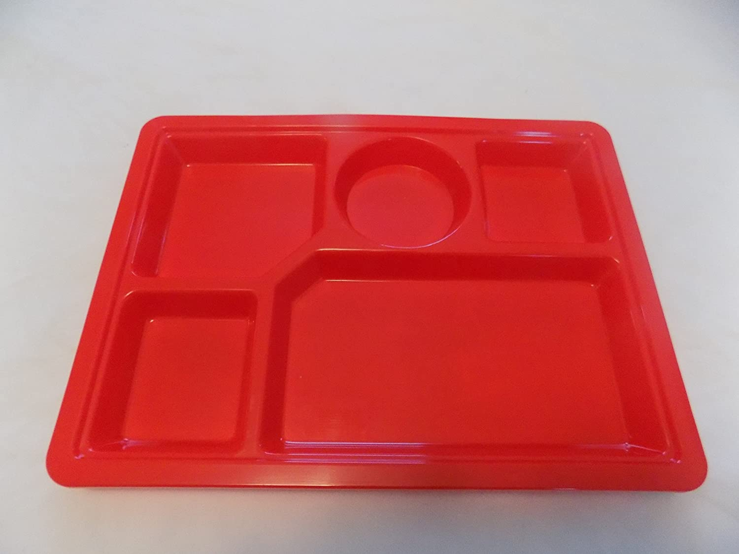 """Tray Divided TV Lunch Dinner Meal Picnic Plate Serving Plastic Orange 8.5/""""x11.5/"""""""