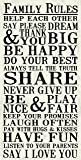 Artissimo Designs 33587CPBG0 Family Rules 1-Piece Sign Image Distressed Printed Canvas Art, 30 by 15-Inch, White