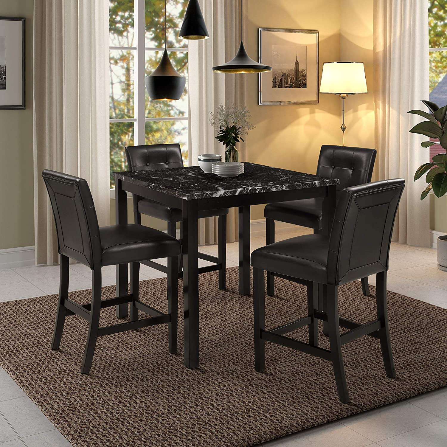 Amazon Com Harper Bright Designs 5 Piece Kitchen Table Set Faux Marble Top Counter Height Dining Table Set With 4 Black Leather Upholstered Chairs Black Table Chair Sets