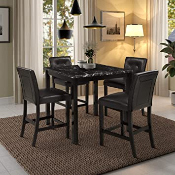 Amazon Com Lz Leisure Zone 5 Piece Dining Table Set Kitchen Wooden Top Counter Height Dining Set With 4 Leather Upholstered Chairs Black Table Chair Sets