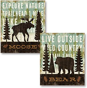 Rustic Forest Moose and Bear Set by Michael Mullan; Cabin Lodge Decor; Two 11x14in Unframed Paper Posters (Printed on Paper, Not Wood)
