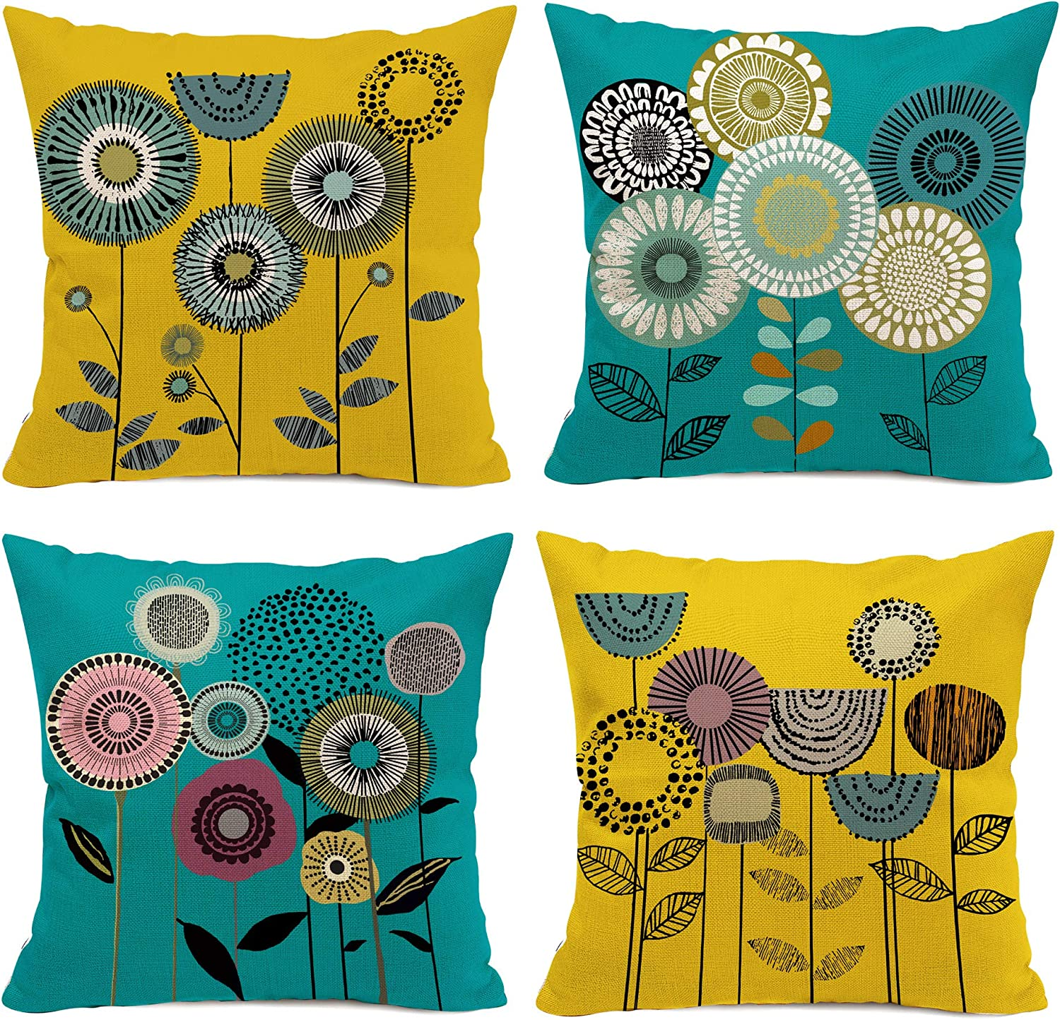 Amazon Com Hexagram Yellow And Turquoise Throw Pillow Covers Set Of 4 18x18 Cartoon Flowers Room Decor For Living Couch Sofa Cushion Bed Boho Floral Decorative Teal Home