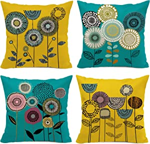 Hexagram Yellow and Turquoise Throw Pillow Covers Set of 4, Pillow Covers 18x18 Cartoon Flowers Room Decor for Living Room Couch Sofa Cushion Bed, Boho Floral Decorative Yellow and Teal Home Decor